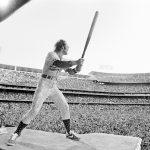 Elton John performing at Dodger Stadium