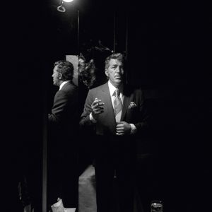 American actor and singer Dean Martin (1917 - 1995) preparing to go on stage at a Las Vegas night club, 1971.