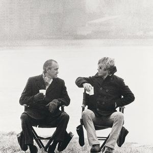 "Actor Robert Redford having a conversation with Richard Helmes, then head of the CIA, during the filming of ""Three Days of the Condor"" on Rykers Island, New York City, 1975."