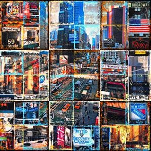 From Midtown to Downtown_mixed media on canvas_50x150cm