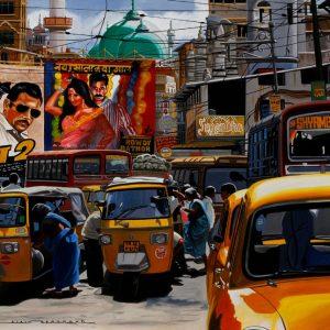 India  street of Mumbai 81 x 65