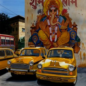 India  taxis and Ganesh mural 73 x 92