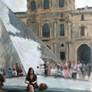 Aldo Balding-The Courtyard of the Louvre- 74x54cm