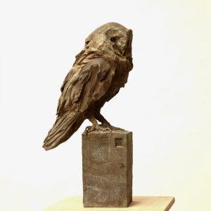 Barn owl - bronze - lost wax casting 3:8 - 51x25x16cm 2