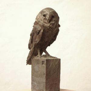 Barn owl - bronze - lost wax casting 3:8 - 51x25x16cm