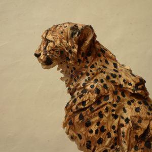 Sitting Cheetah - Wood - 162x50x35cm 2