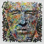 Artcatto - Art Gallery Algarve - Pedro Guimarães - Old-man-smoking-220-x-220-Acrylic-on-strips-of-wood