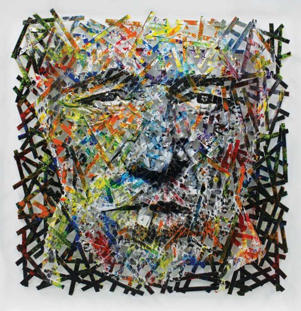 Artcatto - Art Gallery Algarve - Pedro Guimarães - Old-man-smoking-220-x-220-Acrylic-on-strips-of-wood