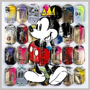 ArtCatto Gallery in Loulé Algarve Mickey-With-King-Basquiat-Crown-79cmX79cm