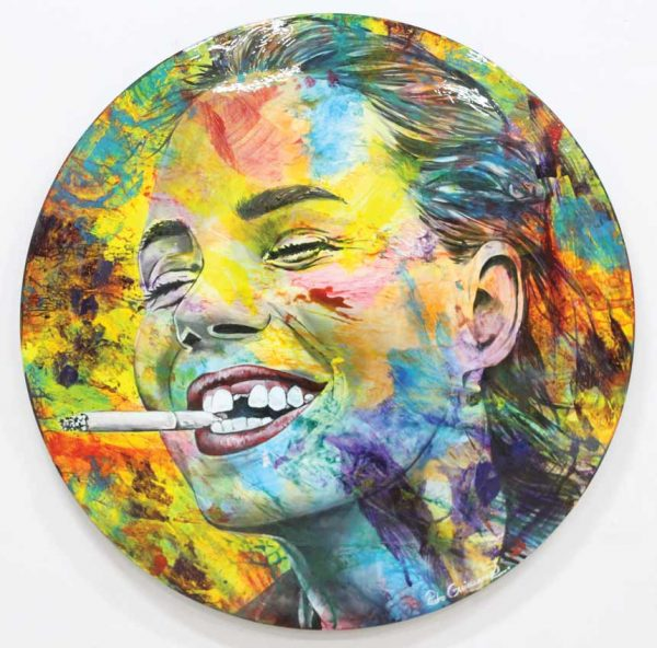 Artcatto - Art Gallery Algarve - Pedro Guimarães - I-just-need-to-be-happy-190-diameter-Acrylic-on-aluminium